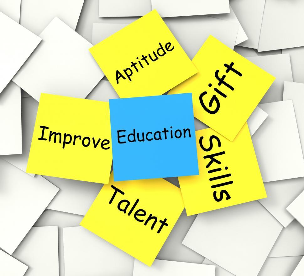 Download Free Stock Photo of Education Post-It Note Shows Talent Skills And Improving