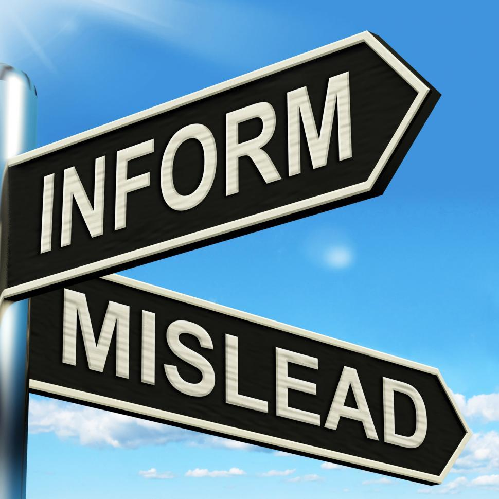 Download Free Stock Photo of Inform Mislead Signpost Means Advise Or Misinform