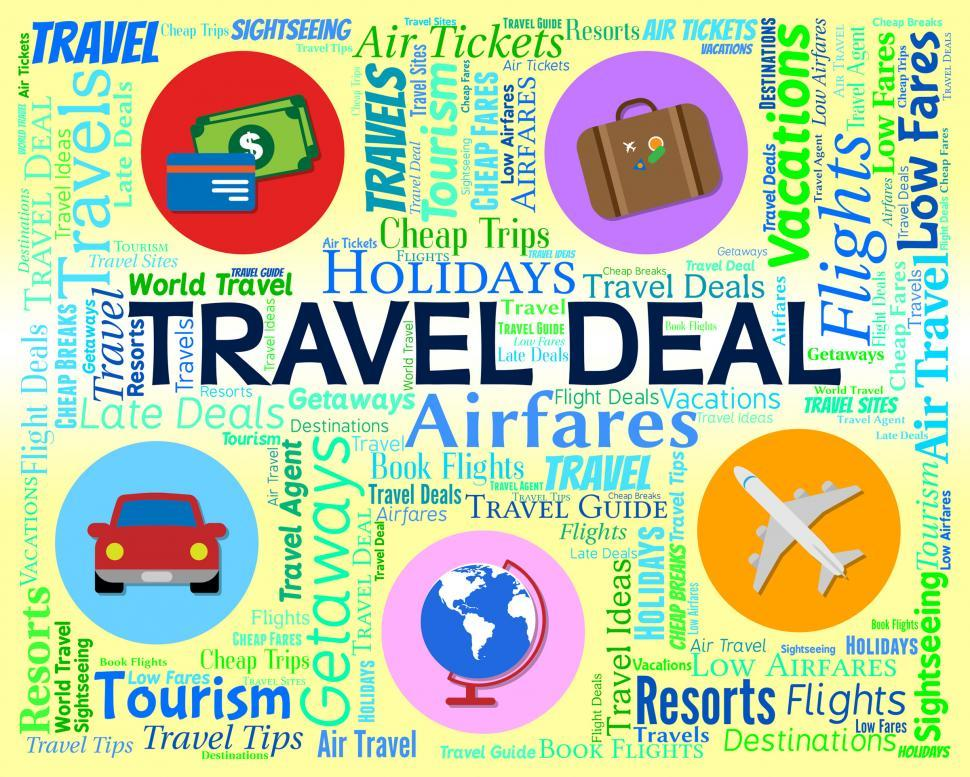 Download Free Stock HD Photo of Travel Deal Represents Word Promotion And Vacation Online