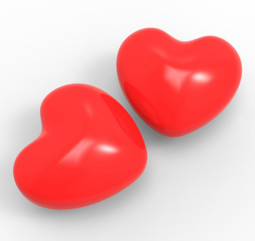 Download Free Stock Photo of Three Dimensional Hearts Means Affection Passion And Attraction