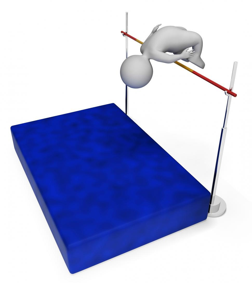 Download Free Stock HD Photo of High Jump Means Pole Vault And Athletic 3d Rendering Online