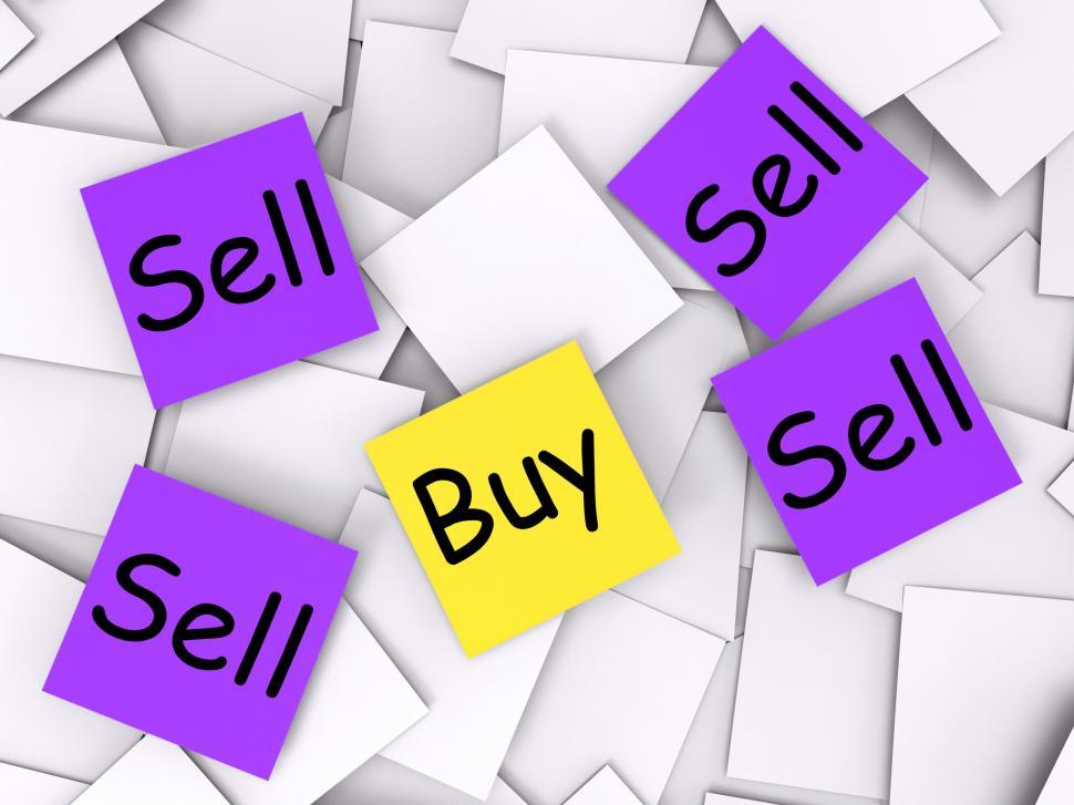Download Free Stock Photo of Buy Sell Post-It Notes Show Trade And Commerce
