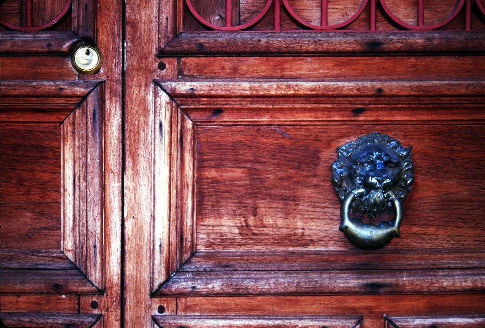 Download Free Stock Photo of Knocker on old wooden door