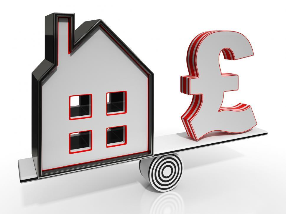 Download Free Stock Photo of House And Pound Balancing Show Investment