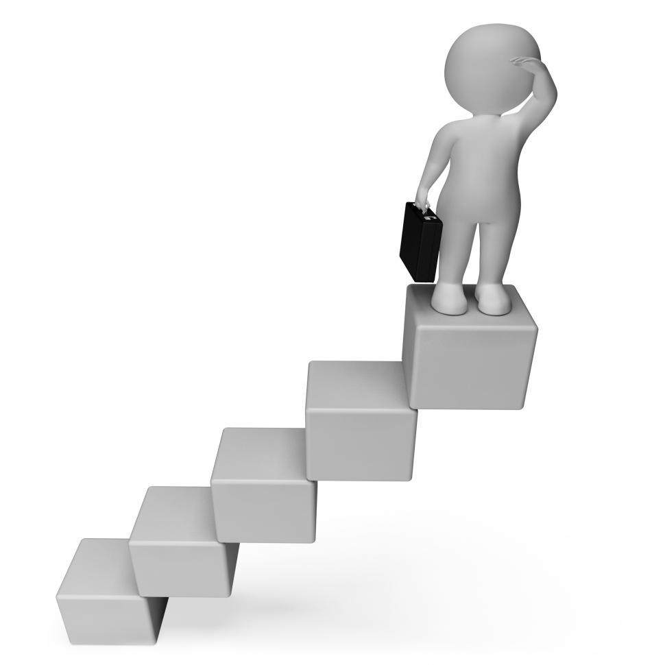 Download Free Stock HD Photo of Stairs Character Means Business Person And Achieve 3d Rendering Online