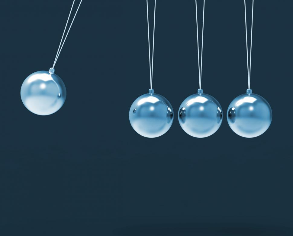 Download Free Stock HD Photo of Four Silver Newtons Cradle Shows Blank Spheres Copyspace For 4 L Online