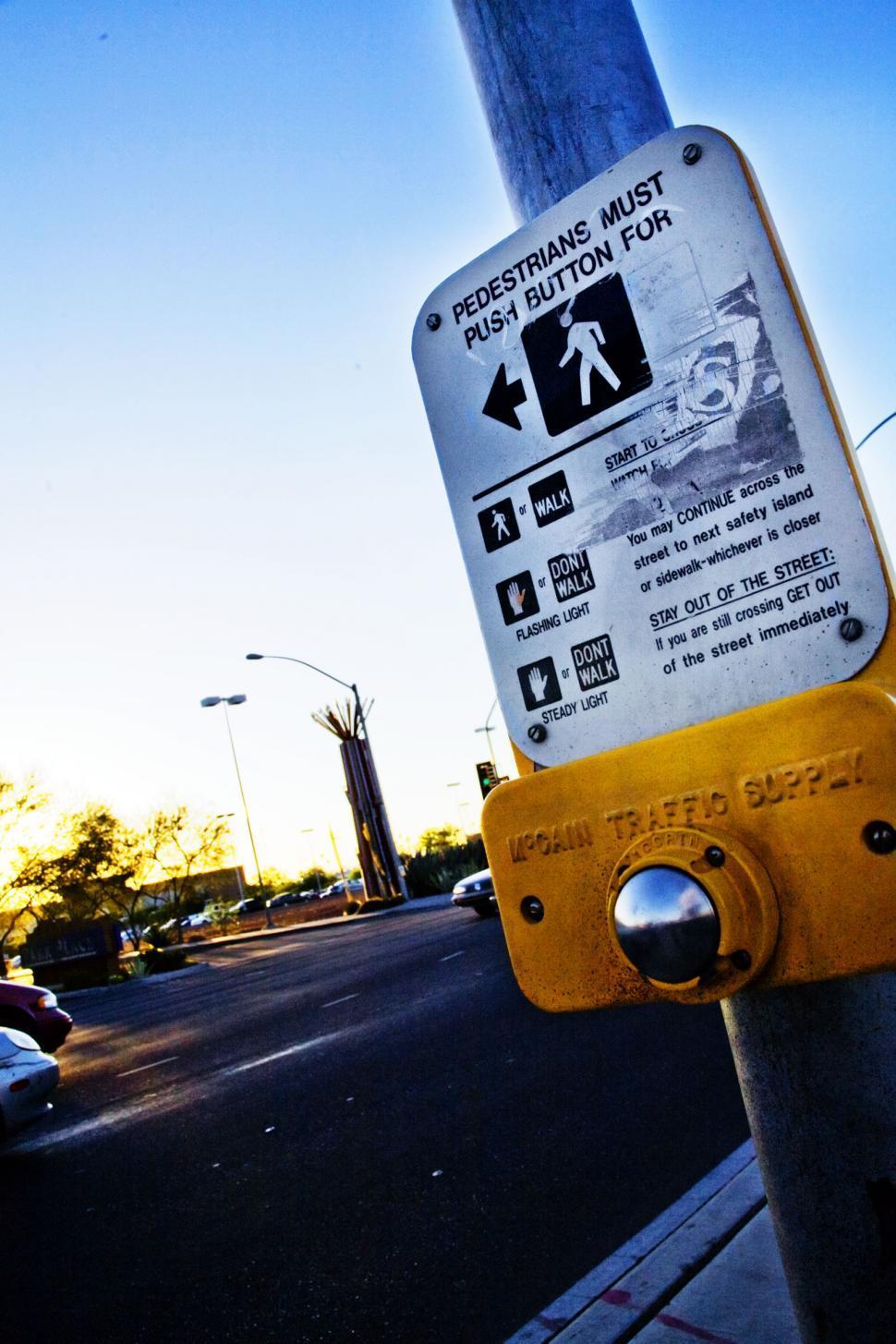 Download Free Stock Photo of Grainy crosswalk sign