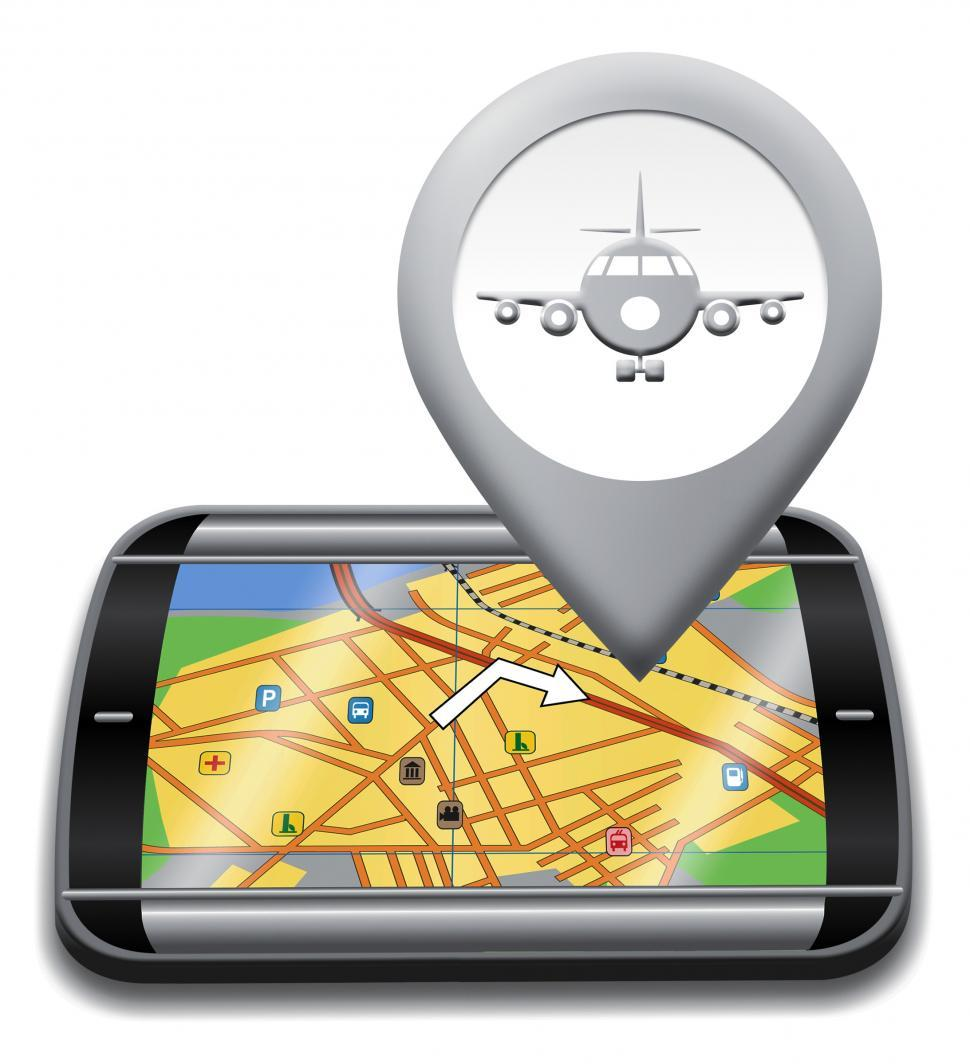 Download Free Stock Photo of Airport Gps Shows Landing Strip 3d Illustration
