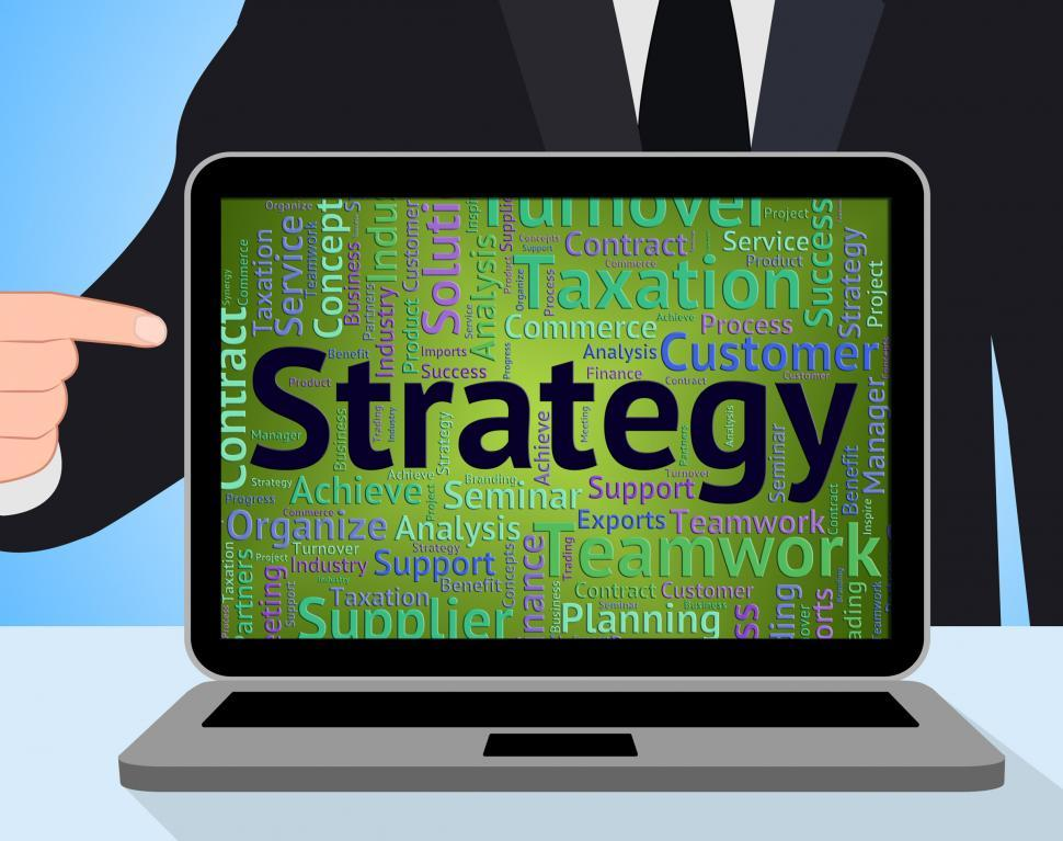 Download Free Stock Photo of Strategy Word Shows Plan Vision And Text