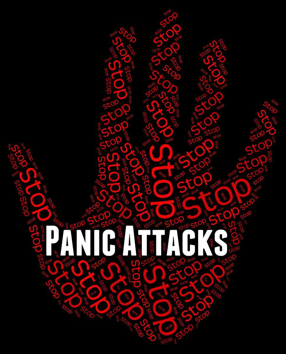 Download Free Stock Photo of Stop Panic Shows Warning Sign And Attack