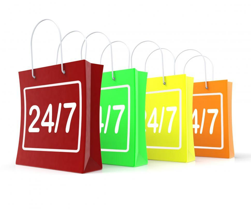 Download Free Stock Photo of Twenty Four Seven Shopping Bags Shows Open 247