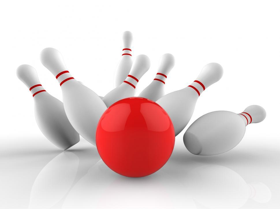 Download Free Stock HD Photo of Bowling Strike Shows Skittles Game Success Online