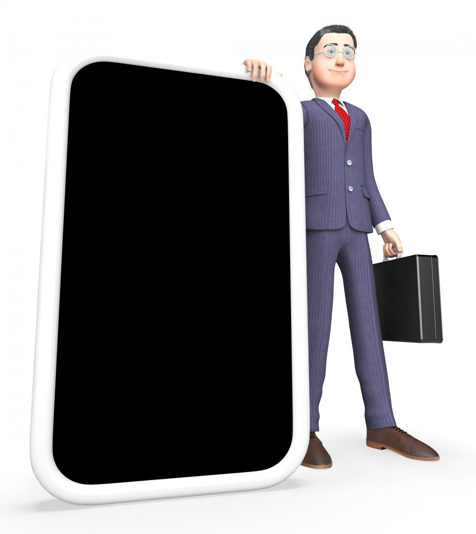 Download Free Stock Photo of Smartphone Businessman Shows World Wide Web And Mobile 3d Render