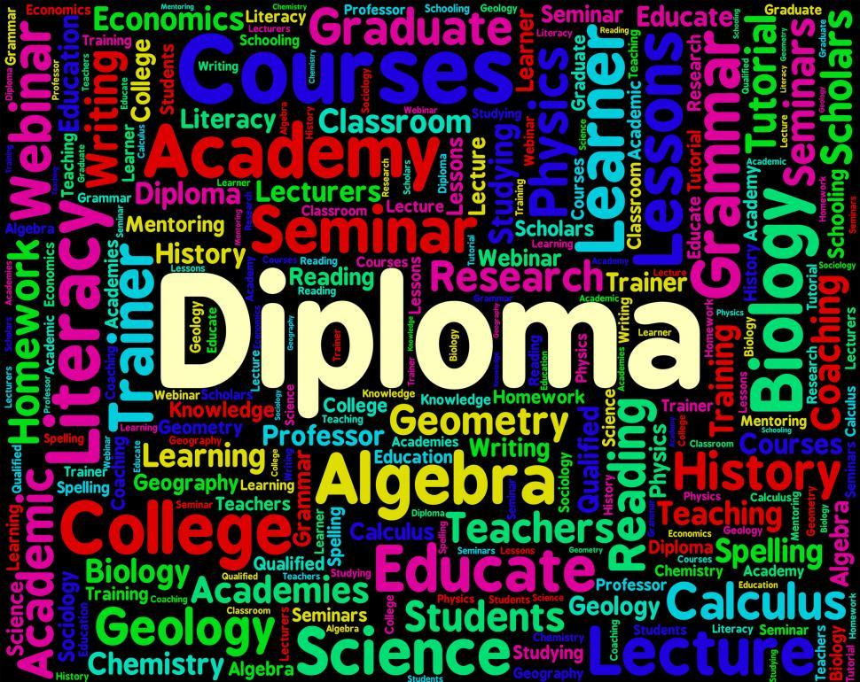 Download Free Stock HD Photo of Diploma Word Represents Certificate Certificates And Text Online