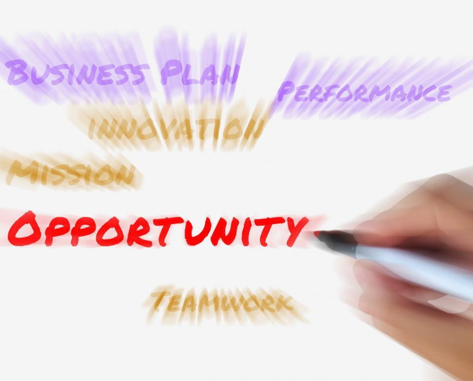 Download Free Stock Photo of Opportunity on Whiteboard Displays Hope Chance Luck or Advantage