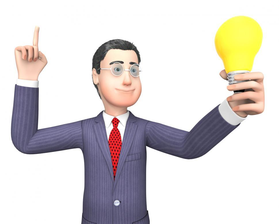 Download Free Stock HD Photo of Lightbulb Businessman Represents Power Source And Character 3d R Online