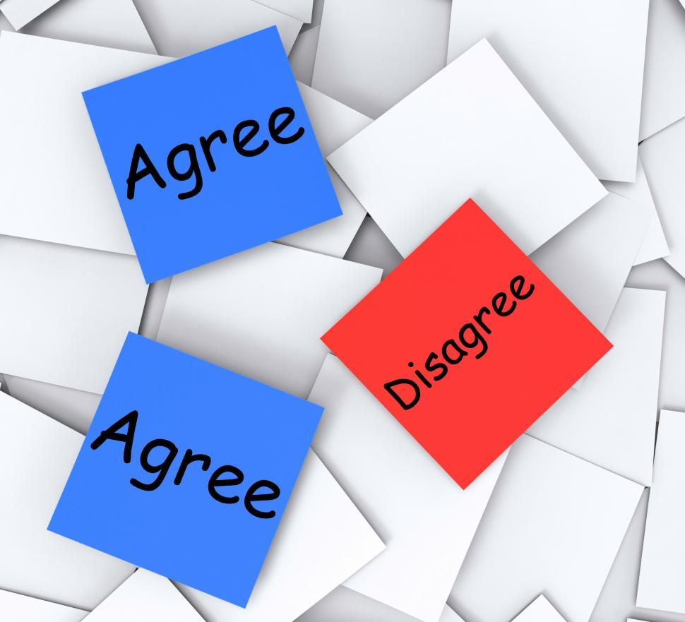 Download Free Stock HD Photo of Agree Disagree Post-It Notes Mean Opinion And Point Of View Online