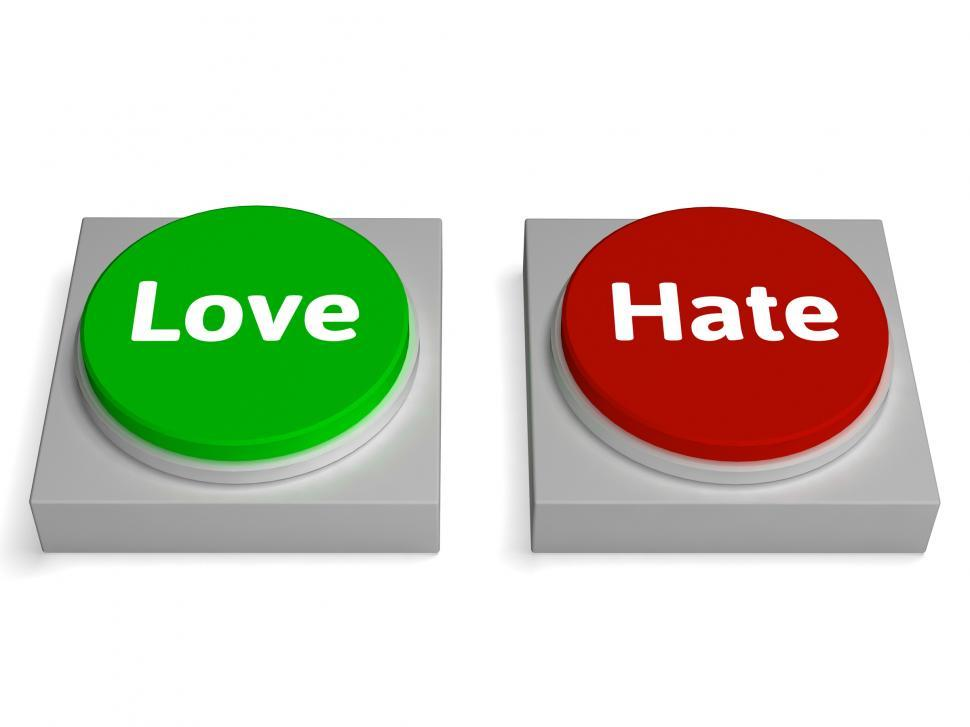 Download Free Stock Photo of Love Hate Buttons Shows Appraise Or Hateful
