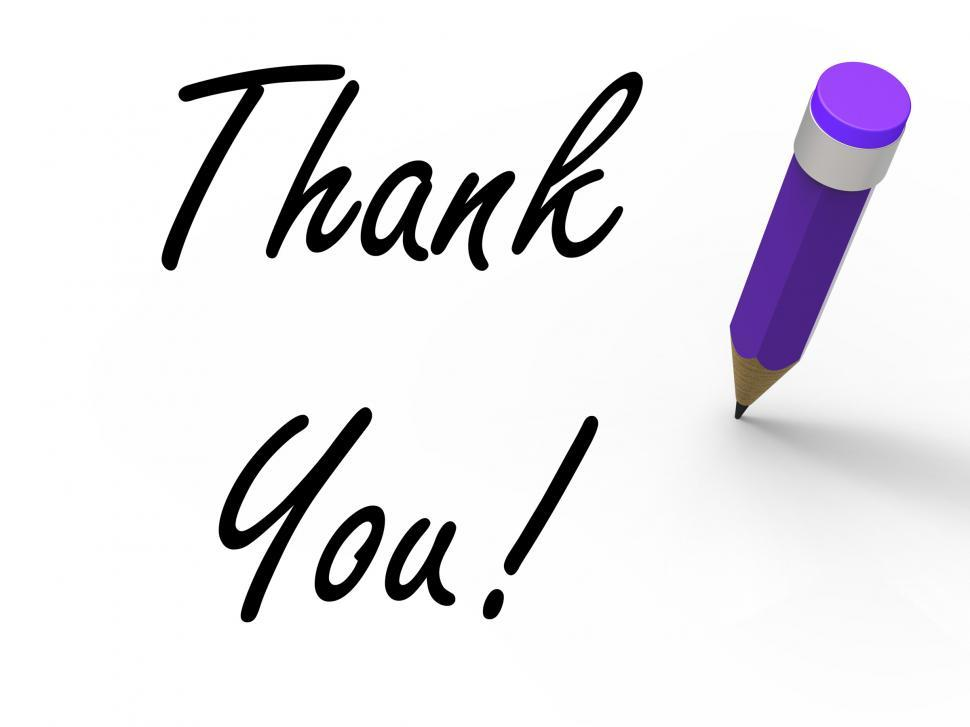 Download Free Stock Photo of Thank You Sign with Pencil Indicates Written Acknowledgement