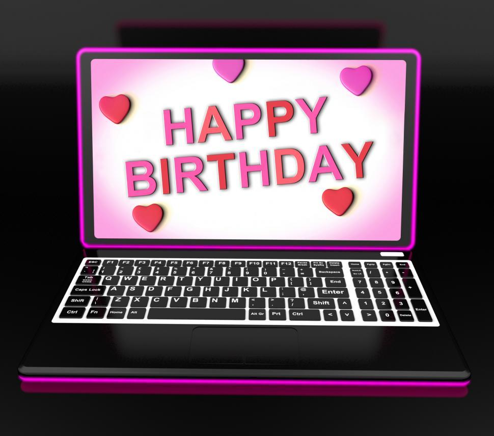 Download Free Stock Photo of Happy Birthday Message On Computer Shows Internet Greeting