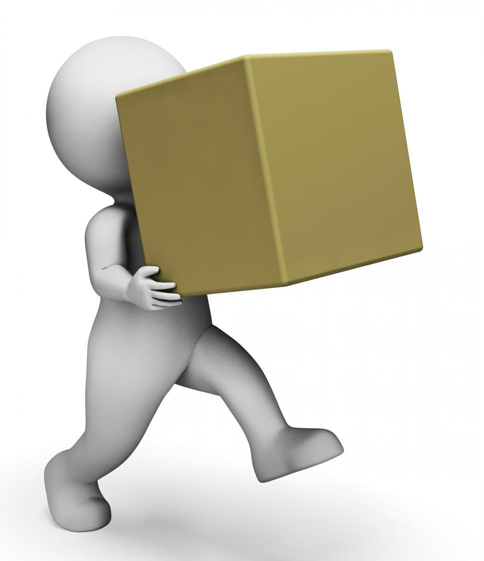 Download Free Stock Photo of Character Box Represents Delivery Delivering And Products 3d Ren