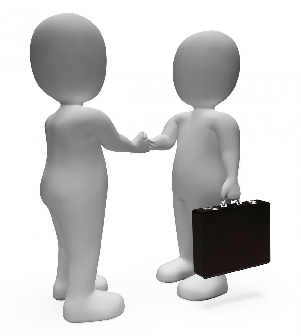 Download Free Stock Photo of Handshake Businessmen Shows Deal Illustration And Contract 3d Re
