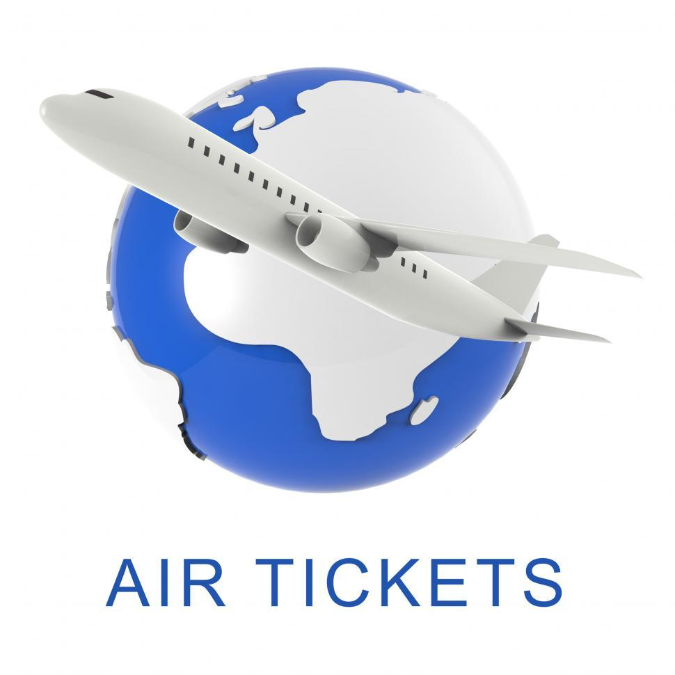 Download Free Stock Photo of Air Tickets Shows Aircraft Flights 3d Rendering