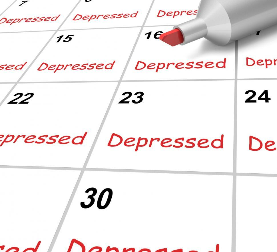 Download Free Stock HD Photo of Depressed Calendar Means Down Despondent Or Mental Illness Online