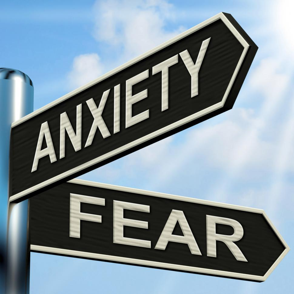 Download Free Stock HD Photo of Anxiety And Fear Signpost Means Worried Nervous Or Scared Online