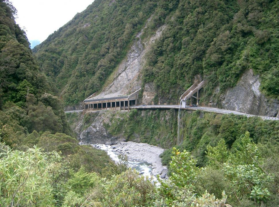 Download Free Stock HD Photo of Otira Gorge Road Refuge and drainage Online