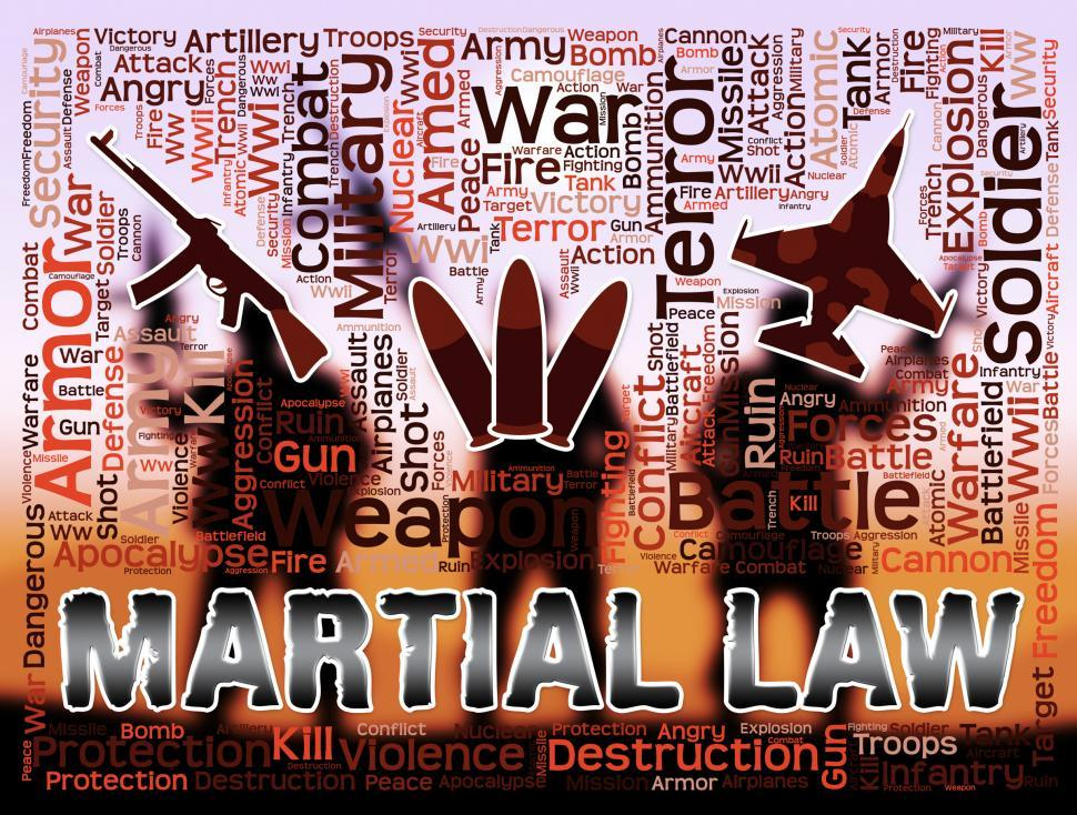 Download Free Stock Photo of Martial Law Means Civil Rights Stopped And Coups