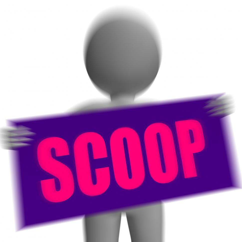 Download Free Stock Photo of Scoop Sign Character Displays Gossipmonger Or Intimate Tatter