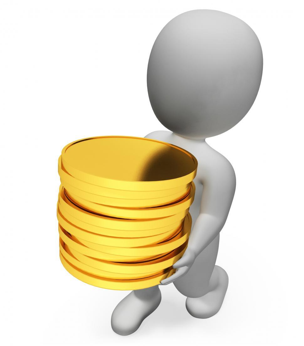 Download Free Stock Photo of Finance Character Represents Wealth Richness And Banking 3d Rend