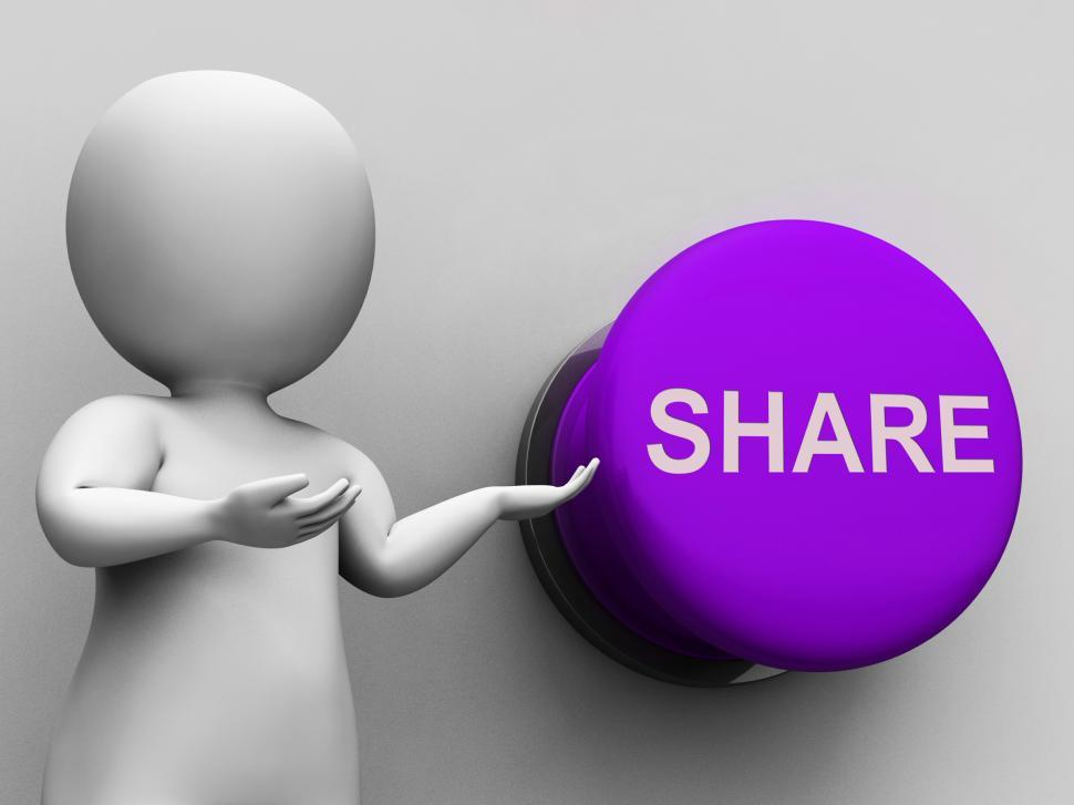 Download Free Stock Photo of Share Button Means Sharing Recommending And Feedback