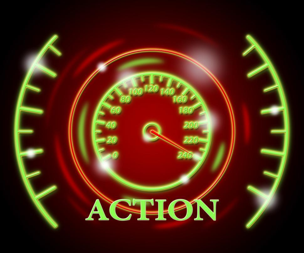 Download Free Stock HD Photo of Action Gauge Represents Do It And Acting Online