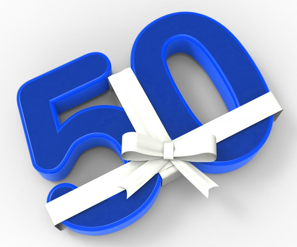 Download Free Stock Photo of Number Fifty With Ribbon Shows Fiftieth Birthday Celebration Or