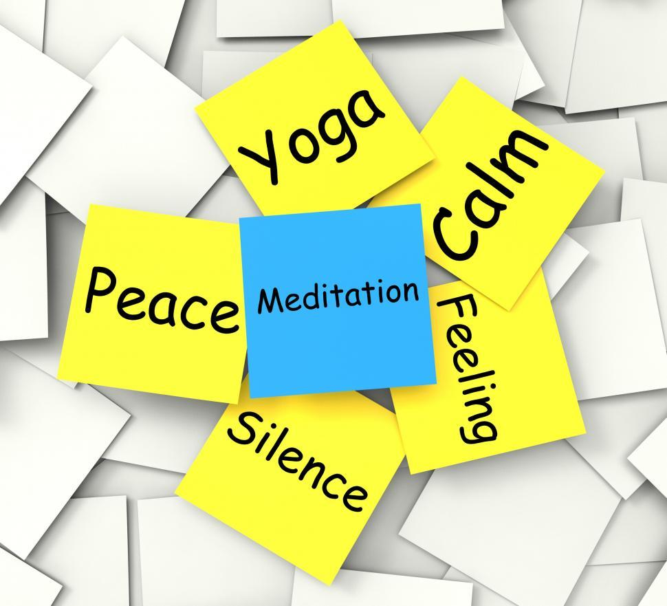 Download Free Stock Photo of Meditation Post-It Note Shows Relaxation And Enlightenment