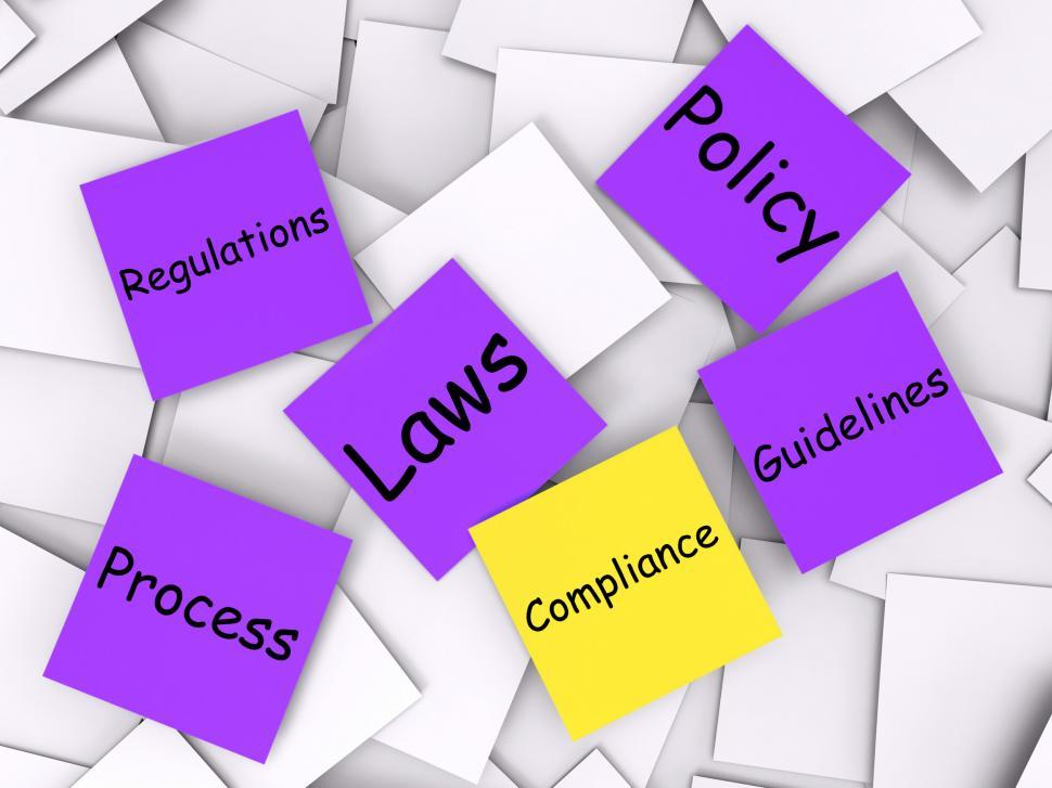 Download Free Stock Photo of Compliance Post-It Note Means Adhering To Rules And Processes