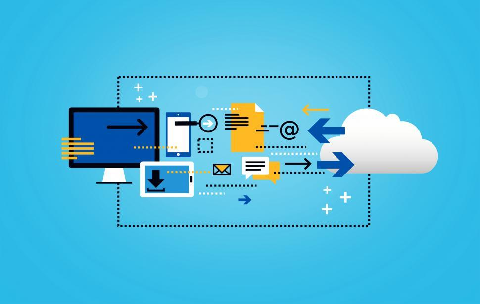 Download Free Stock Photo of Data Storage and Cloud Computing - Flat Line Illustration