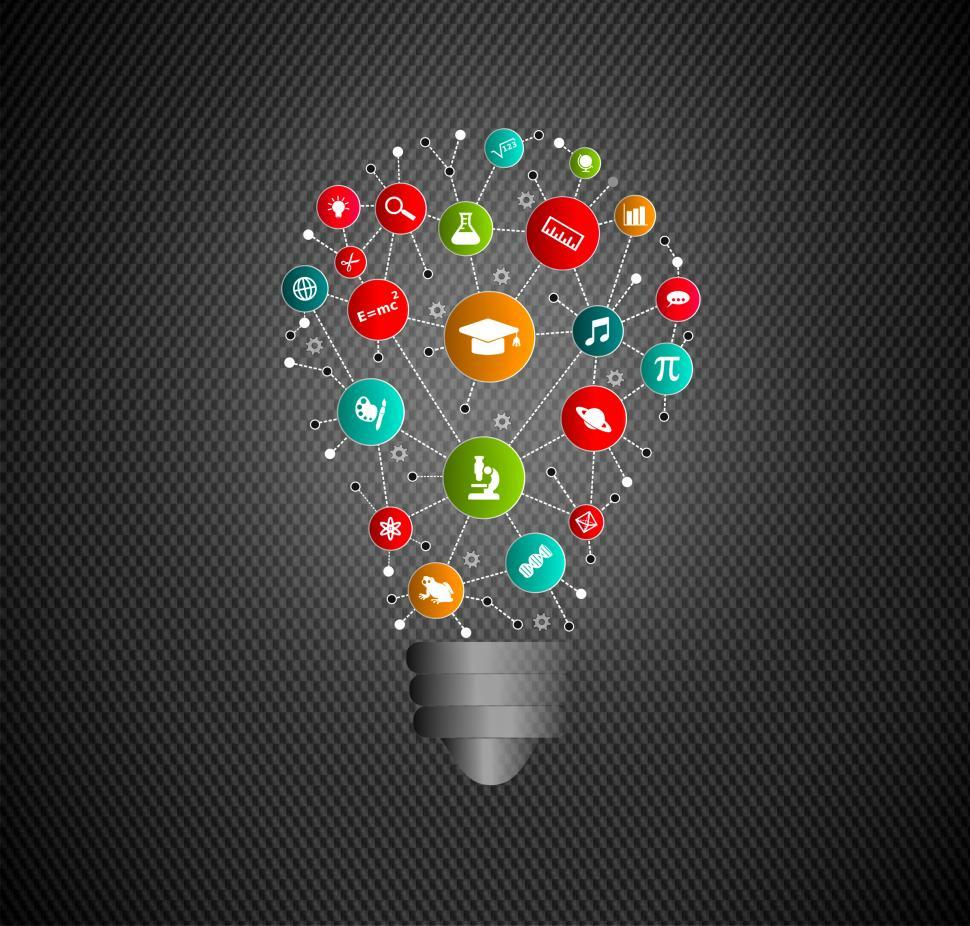 Download Free Stock Photo of Education Idea - Virtual Lightbulb with Education and Learning I