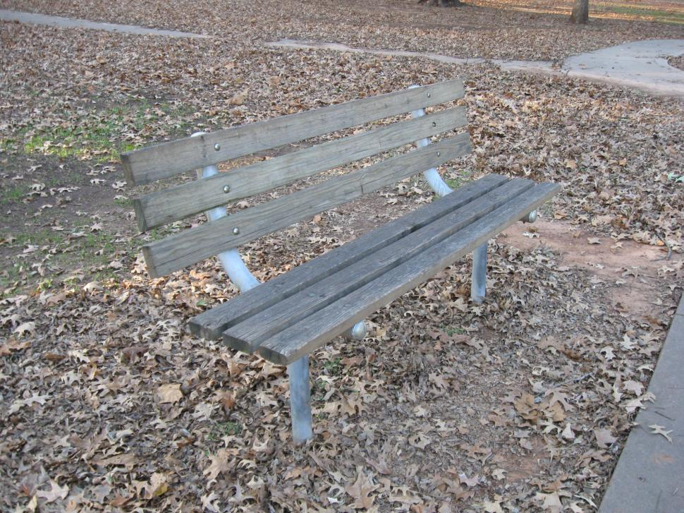 Download Free Stock Photo of Park Bench in the Fall