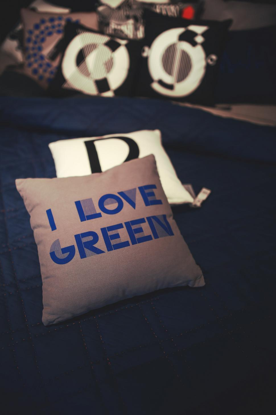Download Free Stock Photo of Bed Blue Decor Decoration Gift Gray Green Interior Pillow design homeware love package packet money container currency cash paper bank finance wealth business