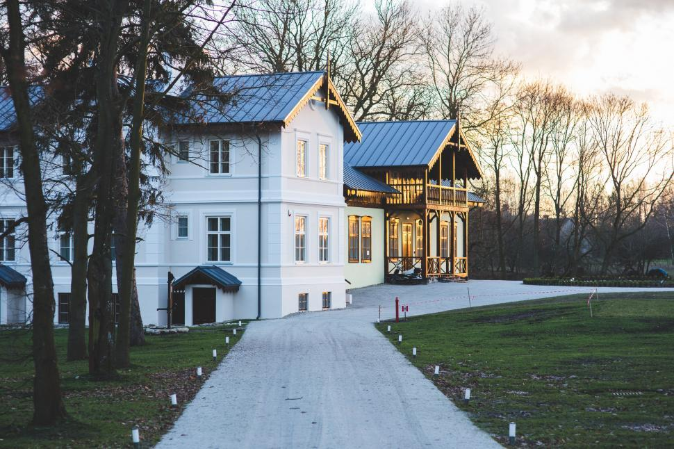 Download Free Stock Photo of Beautiful Chopin Driveway Motel Museum Old Orpiszewscy Palace Villa Village building countryside entry evening exterior hotel house outdoor poland vintage white wooden house architecture building home old residence residential estate roof window travel real trees sky door city property mansion