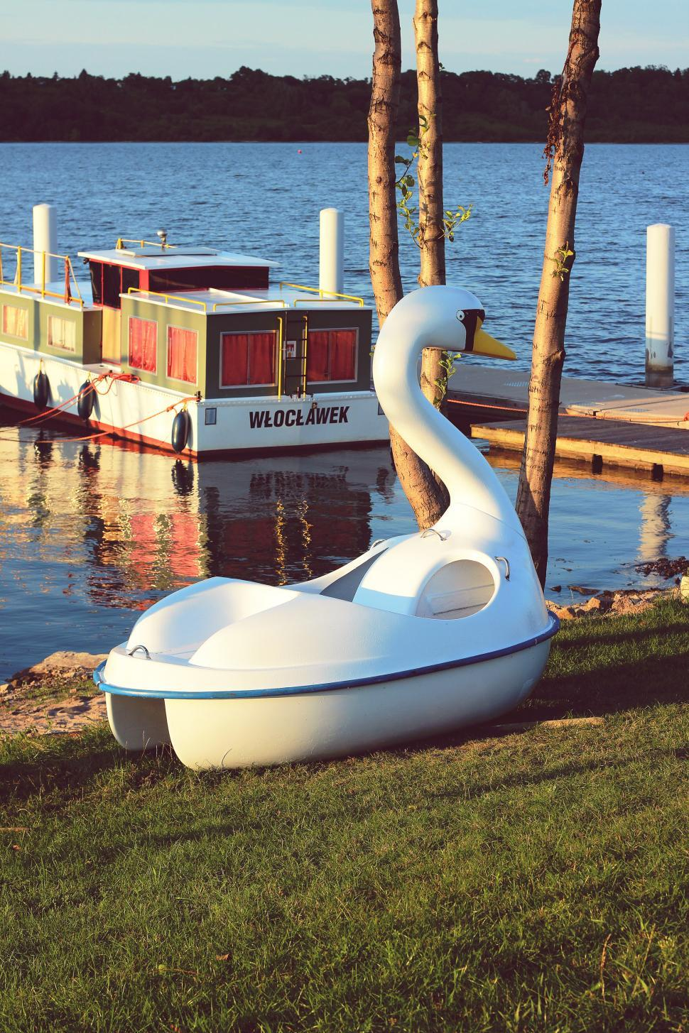 Download Free Stock Photo of Lake Swan Wloclawek WÃ…Â'ocÃ…Â'awek boat river sea vintage water waterscape boat vessel iron water