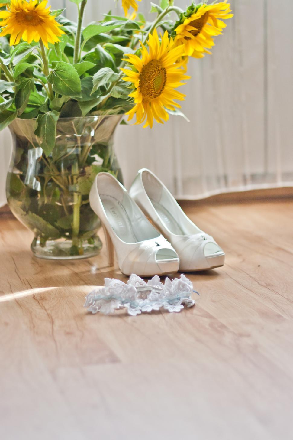 Download Free Stock Photo of flowers garter higheels shoes sunflower wedding