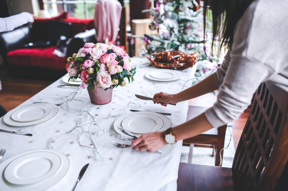Download Free Stock Photo of Christmas Decoration Dinner Flower Girl Interior Meal Preparing dishes flowers holidays set settable table woman xmas restaurant home building food happy table