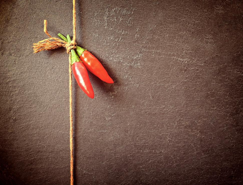 Download Free Stock Photo of Red Chilli Peppers on a String - Dark Background with Copyspace