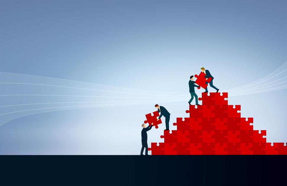 Download Free Stock Photo of Teamwork - Team Building Jigsaw - With Copyspace