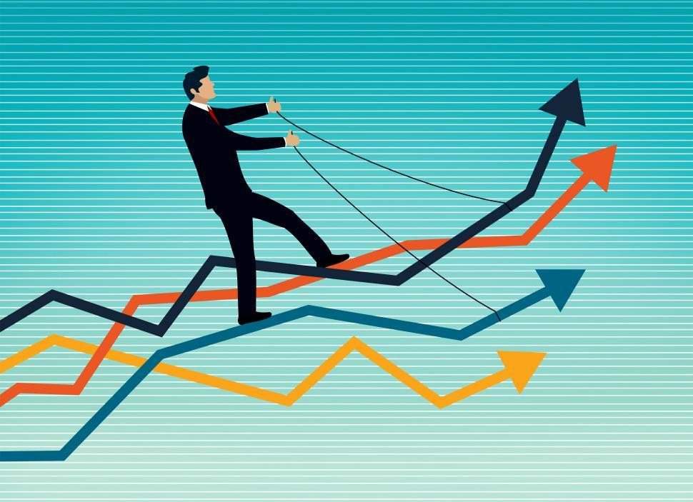 Download Free Stock Photo of Businessman Riding a Set of Arrows - Bull versus Bear Markets Co