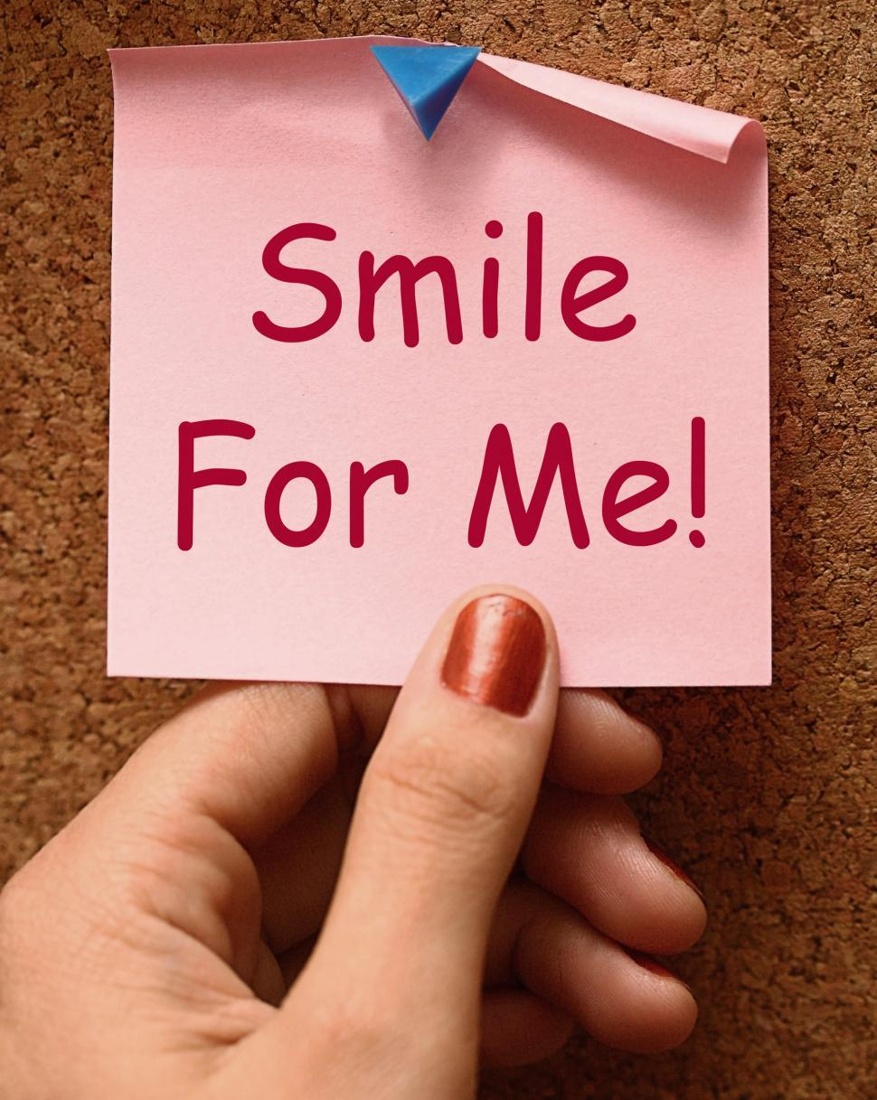 Download Free Stock HD Photo of Smile For Me Note Means Be Happy Cheerful Online